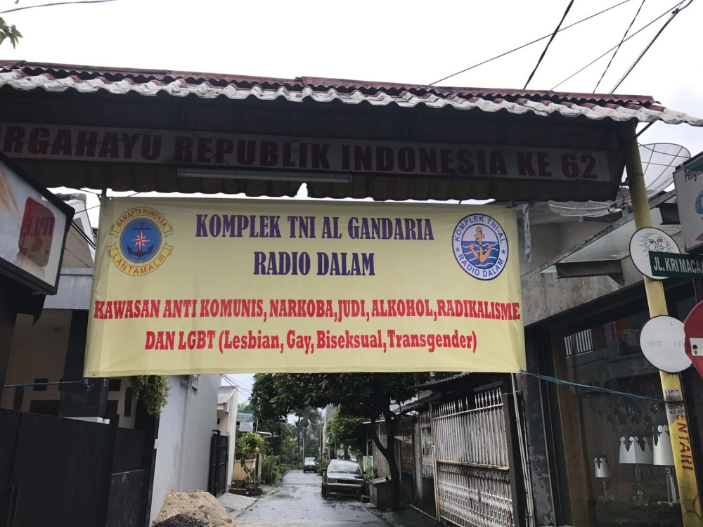 A sign near the author's home in Jakarta: 'This area is free from communism, drugs, gambling, alcohol, radicalism, and LGBT.'